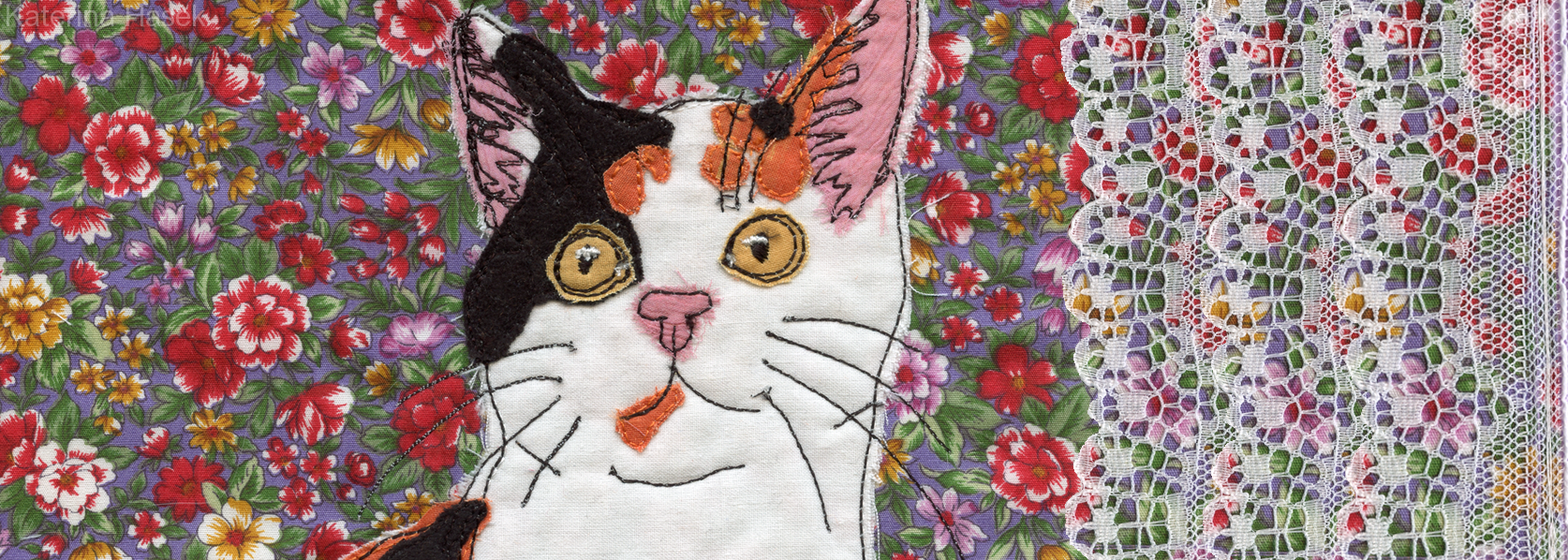 Applique image of Cat by czech born mixed media Katerina Hasek