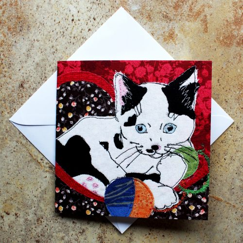 For Rory by Katerina Hasek. Greeting card featuring and applique image of small kitten.