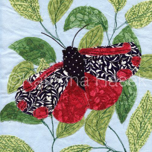 An applique image of Cinnabar Moth