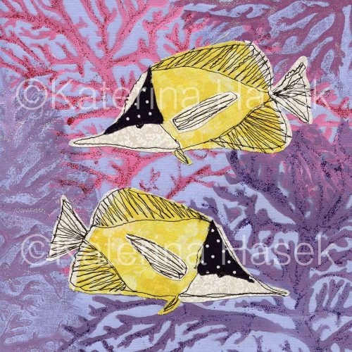 an applique image of yellow longnose butterflyfish