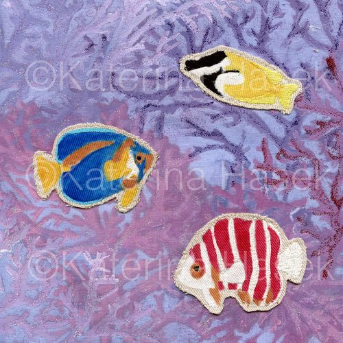 An applique image of Peppermint Angelfish, Scribbled Angelfish and Foxface Rabbitfish