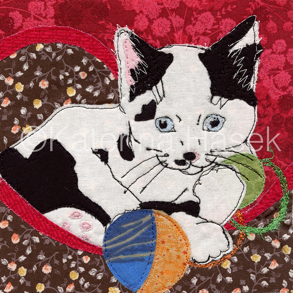 Giclee art print from an origina artwork. An applique image of kitten