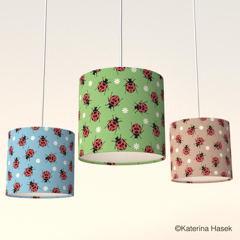 3 ladybird lampshades by Katerina Hasek