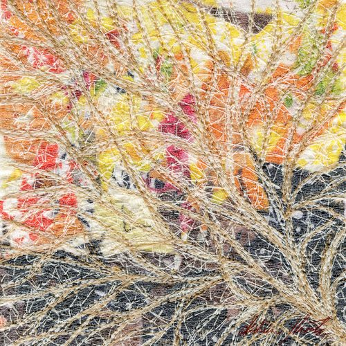 A textile artwork titled All Paths Lead To... created by Katerina Hasek.
