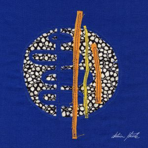 A textile artwork titled Blue Chimes created by Katerina Hasek.