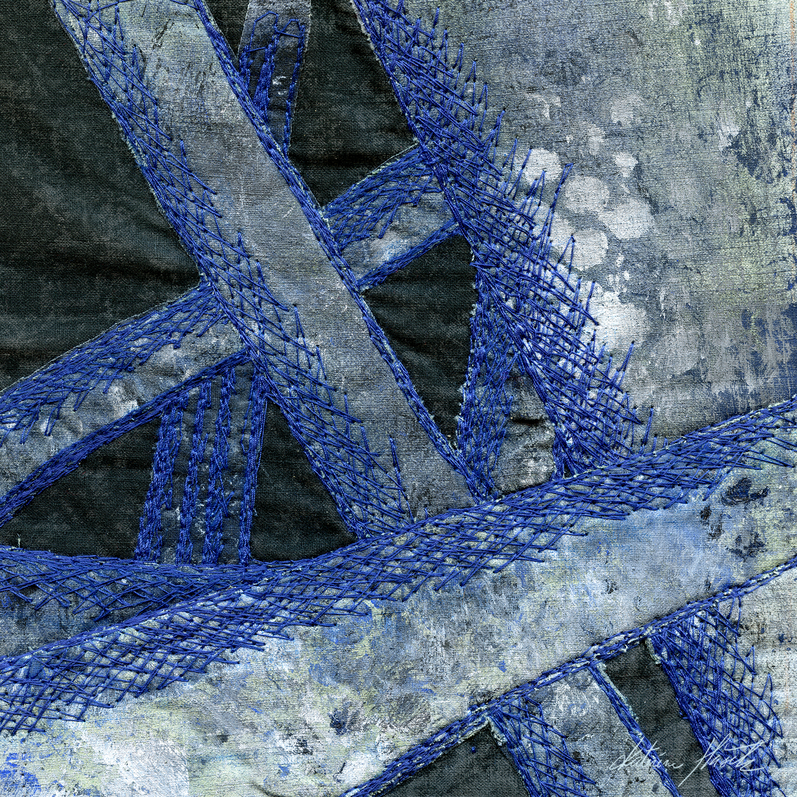 A textile artwork titled Drifting through spacea created by Katerina Hasek.