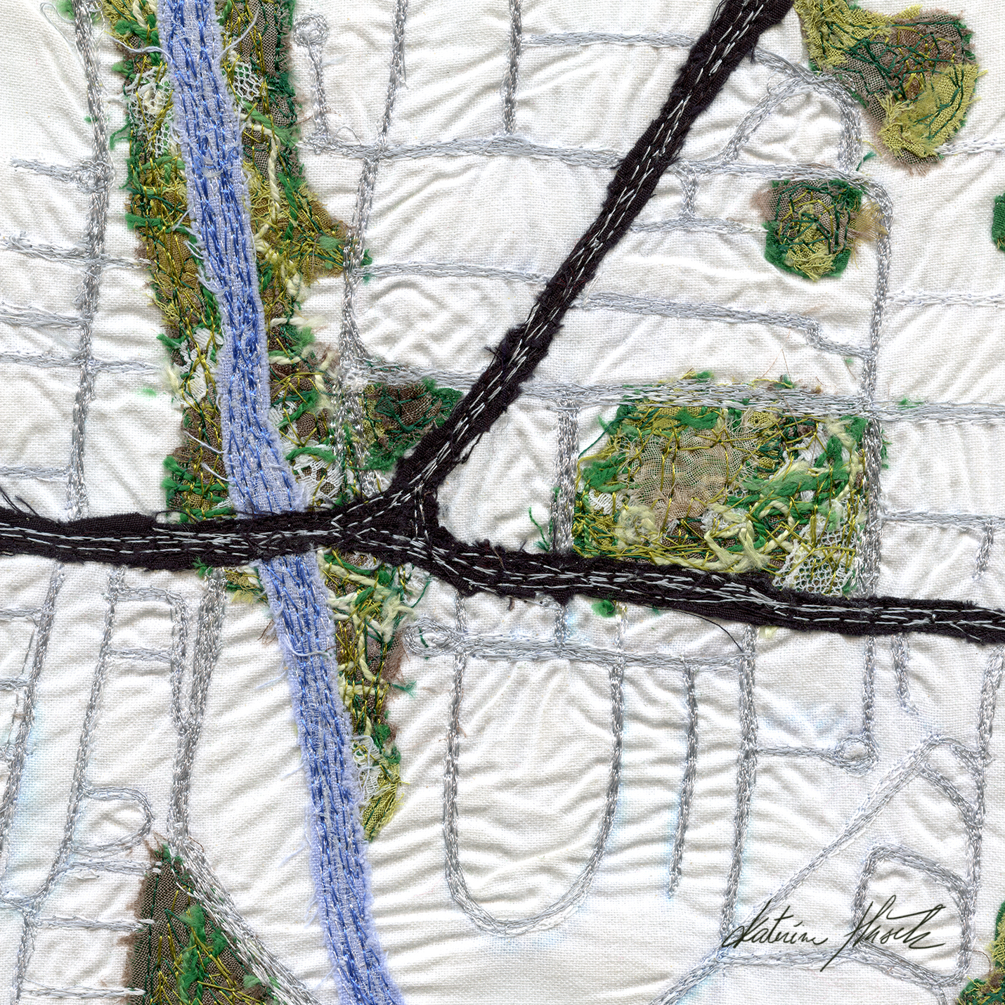 A textile artwork titled Crossing The Yarra by Katerina Hasek.