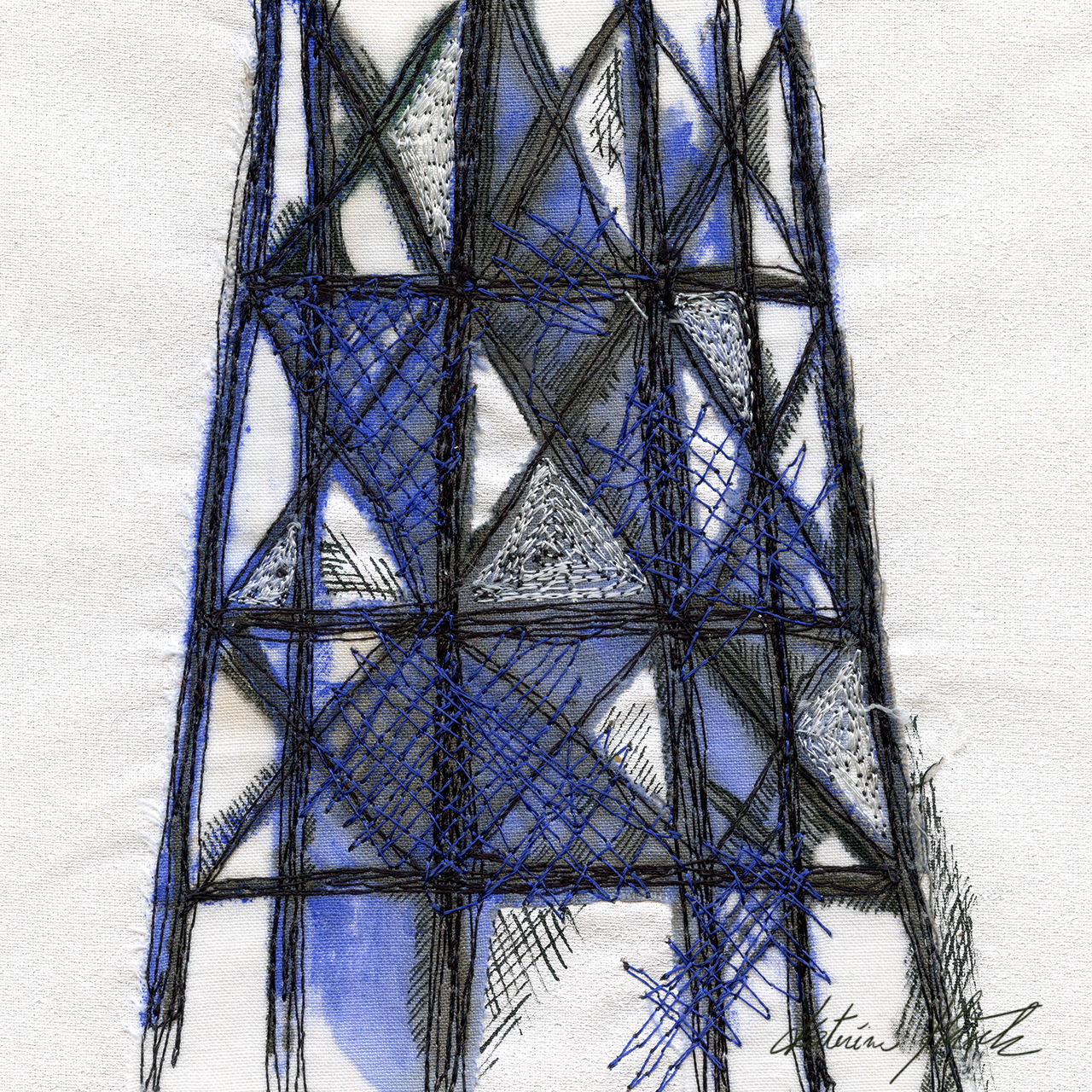A textile artwork titled Standing Tall created by Katerina Hasek.