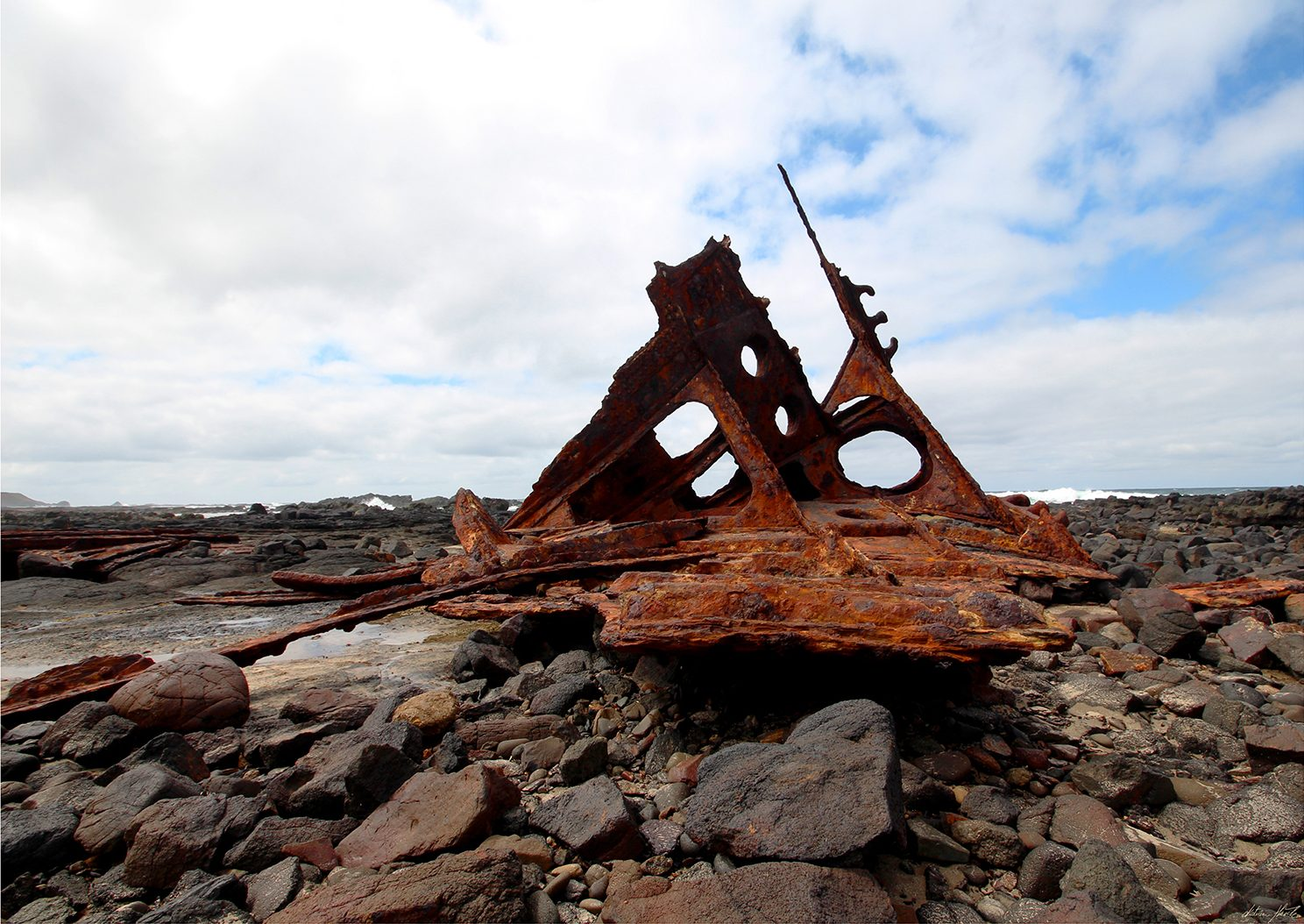 The remains of the S S Speke. Limited Edition Print of the remains of three mastered steel ship of 2,876 tons and 93 metres S. S. Speke, built in Wales, 1891, that drifted broadside on to a reef to the east of Kitty Miller Bay, Phillip Island, Australia, Victoria on 22nd February 1906.